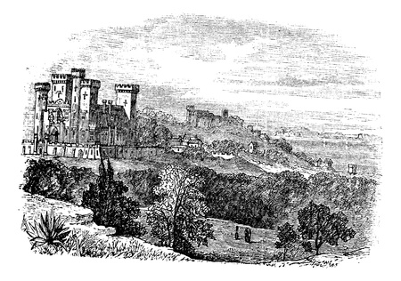 coutryside: Saint Ursula castle or Church of Saint Ursula, Cannes, France. vintage engraving. Old engraved illustration of Saint Ursula castle countryside view in 1890.