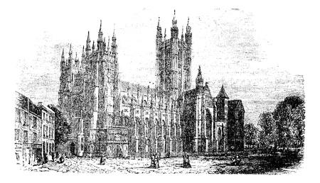 캔터베리 대성당, 켄트, 영국 빈티지 engraving.Old은 1890 년대에서 캔터베리 대성당의 거리 장면보기의 그림을 새겨