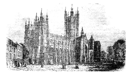 Canterbury Cathedral, Kent,England vintage engraving.Old engraved illustration of of a street scene view of the Cathedral of Canterbury in the 1890s