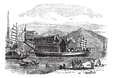 township: Flower boat, in Canton or Guangzhou, China  vintage engraving. Old engraved illustration of flower boat on lake. Illustration