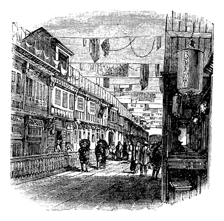 chinatown: Kouang-tchou-fou, China, New street scene  vintage engraving, 1890s. Old engraved illustration of new street scene.