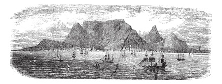 Scenic view from Table bay vintage, Cape Town, South Africa vintage engraving. Old engraved illustration view of Table Mountains near Cape town with ships, 1890s. Vector