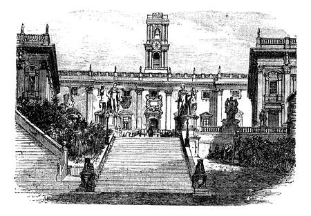 columnas romanas: Edificio del Capitolio, Roma, Italia, el grabado de la vendimia. Ilustración del Antiguo grabado del edificio del Capitolio exterior desde la década de 1890. Palacio Senatorial.