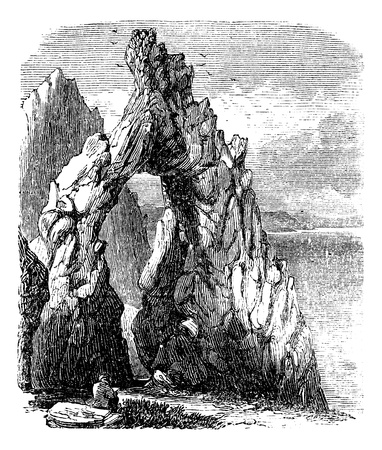 Capri, Italy, in the Tyrrhenian Sea. Natural rock arch or gaunt rock vintage engraving . Old engraved illustration of natural arch in capri island.