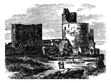 fortified: Castle - narbornne door and the treasure house vintage engraving. Old engraved illustration of fort and treasure house.