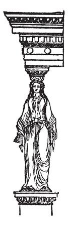 Cariatide or Kariatid or Karyatid, Greece vintage engraving. Old engraved illustration of column carved in shape of a person.