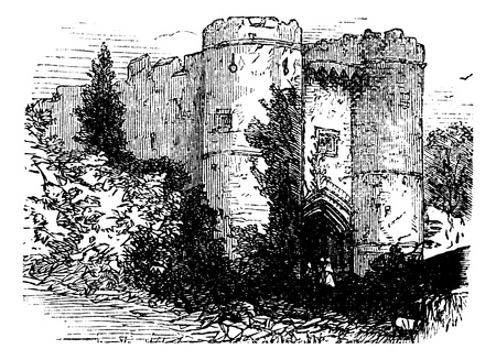 Carisbrooke castle, Isle of Wight, United Kingdom (England) vintage engraving. Old engraved illustrationg of Carisbrooke castle. Vector