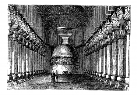 Buddhist stupa in Karla caves, in Karli, Lonavala , Maharashtra , India vintage engraving. Old engraved illustration of pillars and Buddhist stupa in Karla caves. Vector