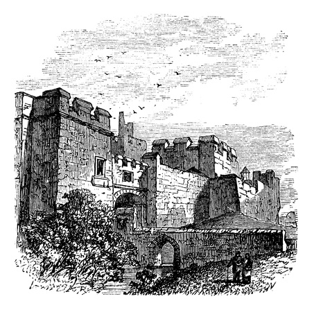 Entrance of the castle Carlisle, in Carlisle, county of Cumbria, United Kingdom vintage engraving, 1890s. Old engraved illustration of Carlisle castle, near Hadrians wall Vector