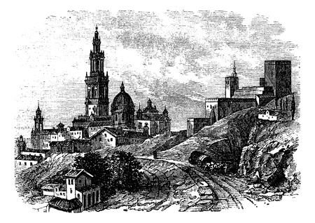 fortification: Carmona city, Sevilla, Spain vintage engraving. Old engraved illustration of buildings in Carmona village, in the 1890s.