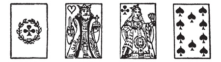 Playing cards or playcards vintage engraving. Old engraved illustration of four different playing cards.