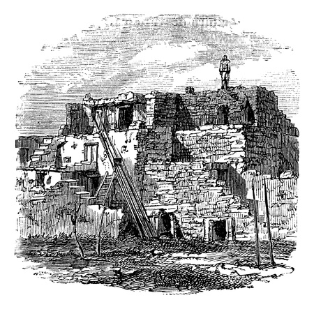 abandoned house: Casas Grandes or Great houses archeological zone, Mexico, also known as Paquime vintage engraving. Old engraved illustration of the archeological site of  Casas Grandes, Mexico, 1890s.