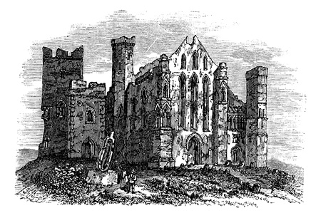 Rock of Cashel or Cashel of the Kings or St. Patrick's Rock, Located at the town of Cashel, in South Tipperary county, Ireland vintage engraving. Old engraved illustration of rock of cashel with ruined buildings and ancient cemetery. Stock Vector - 13771799