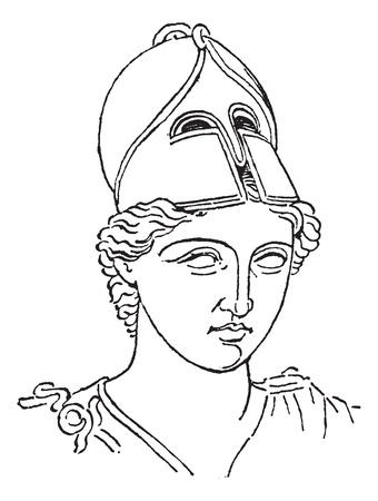 Greek Centurion brush helmet or galea vintage engraving. Old engraved illustration of greek helmet. Illustration