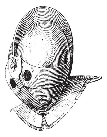 Gladiator helmet of galea vintage engraving. Old engraved illustration of gladiator helmet. Illustration