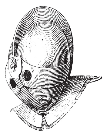 Gladiator helmet of galea vintage engraving. Old engraved illustration of gladiator helmet. Vector