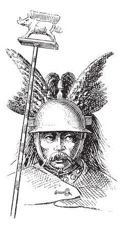 Norman helmet or galea vintage engraving. Old engraved illustration of Norman helmet.