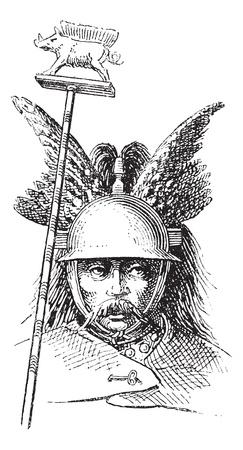 antiquities: Norman helmet or galea vintage engraving. Old engraved illustration of Norman helmet.