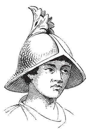 antiquities: Carlovingian helmet of galea vintage engraving. Old engraved illustration of carolingian helmet.
