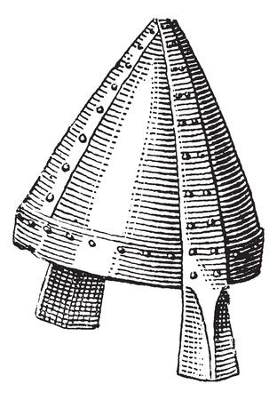 Norman helmet or galea vintage engraving. Old engraved illustration of Norman helmet.