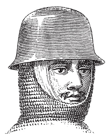 Iron hat or Kettle hat or helmet or galea vintage engraving. Old engraved illustration of Iron hat.