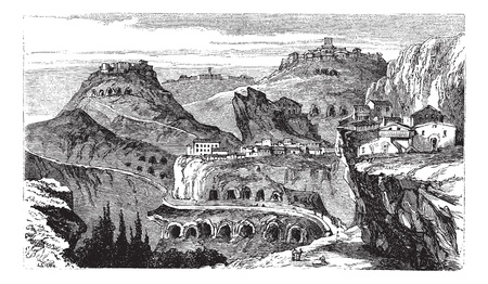 Countryside view of Castrogiovanni vintage engraving. Old engraved illustration of roofed residential structures on mountain. Vector