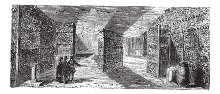 Catacombs or Ossuary or Sepulcher,Paris, France vintage engraving. Old engraved illustration of catacombs,1890s.
