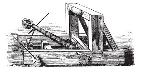 catapult: Catapult or Slingshot vintage engraving. Old engraved illustration of a wooden trebuchet catapult. Illustration