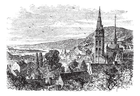 Caudebec-en-Caux or canton or commune vintage engraving. Old engraved illustration of countryside view of Caudebec-en-Caux. Vector