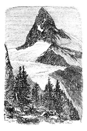 snow capped: The Matterhorn mountain or Monte cervino, Zermatt, Switzerland vintage engraving. Old engraved illustration of beautiful Matterhorn with trees in the foreground.