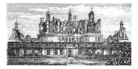 valley: Chateau de Chambord, Loire Valley, France vintage engraving. Old engraved illustration of the Royal Chateau de Chambord, 1800s.