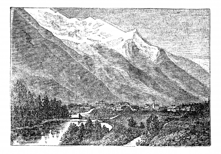Mont Blanc, Monte Bianco, le Mont Blanc near Chamouny vintage engraving. Old engraved illustration of Mont Blanc (Monte Bianco) in Italy, also in France. Vector