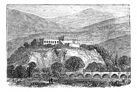 Chapultepec Park bosque in Mexico city, in late 1800s vintage engraving.  Old engraved illustration of a Chapultepec Park, in Mexico City. Vector