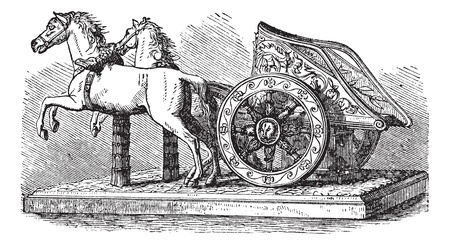 Roman Chariot, vintage engraving. Old engraved illustration of a Roman Chariot pulled by two horses. Vector