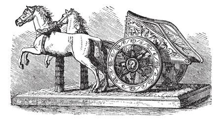 imperium: Roman Chariot, vintage graveren. Oude gegraveerde afbeelding van een Romeinse strijdwagen getrokken door twee paarden. Stock Illustratie