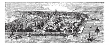사우스 캐롤라이나의 찰스턴, 미국, 1890 년대 동안, 포도 수확, 조각. 이전 찰스턴의 그림을 새겨 져있다.