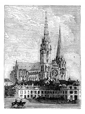 Kathedraal van Chartres, in Chartres, Frankrijk, tijdens de jaren 1890, vintage engraving. Oude gegraveerde afbeelding van de kathedraal van Chartres.
