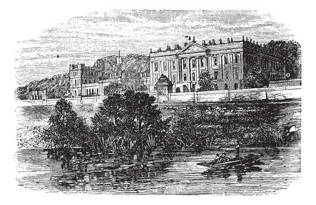 1890 년대, 포도 수확, 조각 중 글로스터 셔, 영국, 첼 튼엄에있는 대학. 이전 첼 튼엄 대학의 그림을 새겨 져있다.