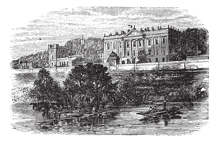 Cheltenham College, in Gloucestershire, United Kingdom, during the 1890s, vintage engraving. Old engraved illustration of Cheltenham College. Stock Vector - 13772360
