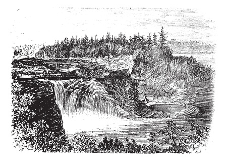 Chaudiere river Falls,in Quebec, Canada vintage engraving, during the 1890s. Old engraved illustration of the Kettle Falls. Vector