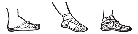 rubber sole: Sandal, vintage engraving. Old engraved illustration of three types of sandals - thonged (left), strapped (middle), or laced (right).
