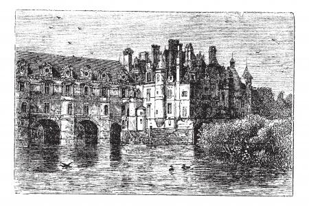 シュノンソー城、1890 年代の間に、フランスのシュノンソーでヴィンテージの彫刻。古いは、シュノンソー城の図を刻まれています。