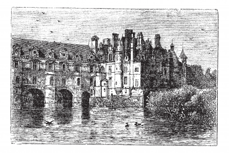 louise: Chenonceau Castle, in Chenonceaux, France, during the 1890s, vintage engraving. Old engraved illustration of Chenonceau Castle.