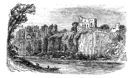 Chepstow Castle, in Monmouthshire, Wales, during the 1890s, vintage engraving. Old engraved illustration of Chepstow Castle.  イラスト・ベクター素材