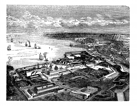 invasion: Cherbourg-Octeville, in Normandy, France, during the 1890s, vintage engraving. Old engraved illustration of Cherbourg-Octeville.
