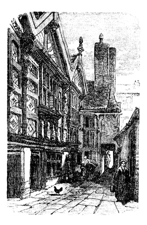 chester: Stanley Palace, in Chester, Cheshire, United Kingdom, during the 1890s, vintage engraving. Old engraved illustration of a street scene in front of Stanley Palace.