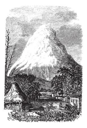 1890 년대 동안 에콰도르의 침 화산, 빈티지 조각. 이전 에콰도르의 침 화산의 그림을 새겨 져있다. 스톡 콘텐츠 - 13772389