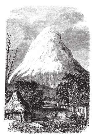 Chimborazo Volcano in Ecuador, during the 1890s, vintage engraving. Old engraved illustration of the Chimborazo Volcano in Ecuador. Vector