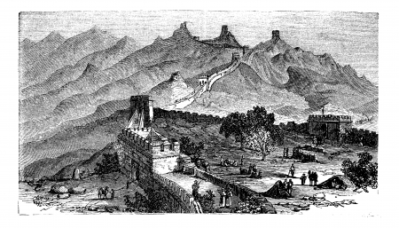 Great Wall of China, during the 1890s, vintage engraving Vettoriali
