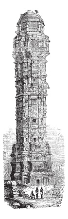 Tower of Victory in Chittorgarh, Rajahstan, India, during the 1890s, vintage engraving. Old engraved illustration of the Tower of Victory in Chittorgarh. Stock Vector - 13770956